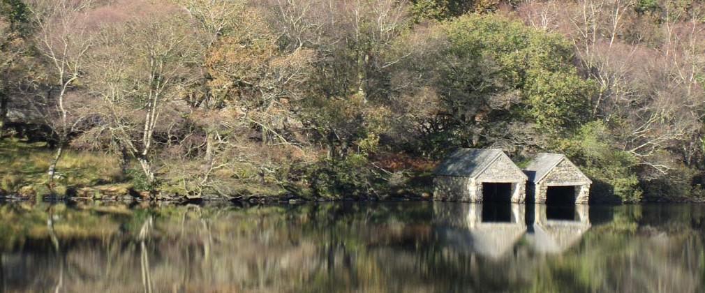 Boathouses on Llyn Dinas