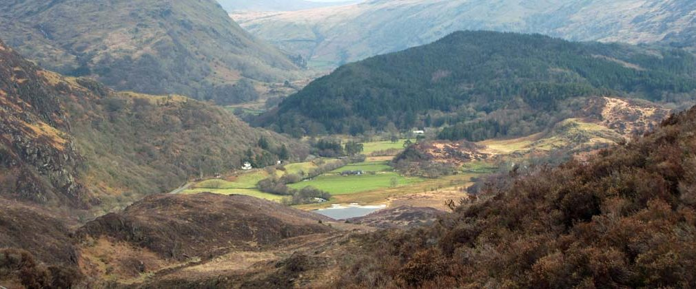 Looking north from Cwm Bychan, Beddgelert down at Afon Glaslyn with the tip of Llyn Dinas showing.