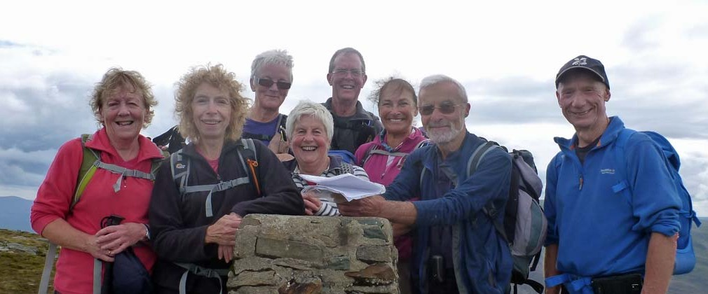 The Sunday walkers at the top of Rhinog Fawr. 2015