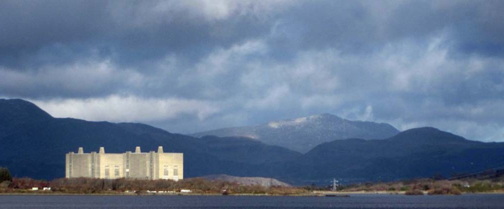 Trawsfynydd Atomic Power Station. The Moelwyns in the background.