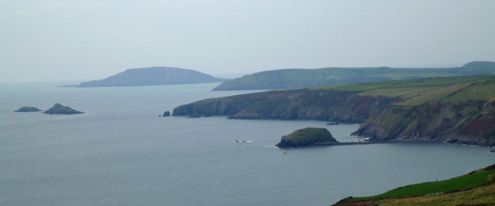 The two Seagull Islands on the left and Bardsey in the distance, from above Porth Ysgo.