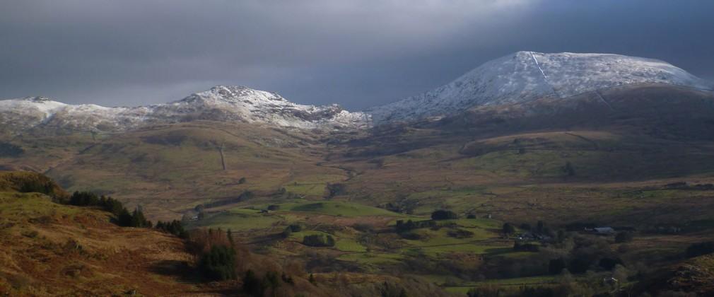 Moel Hebog, Moel yr Ogof & Moel Lefn (R-L) from Cwm Pennant.