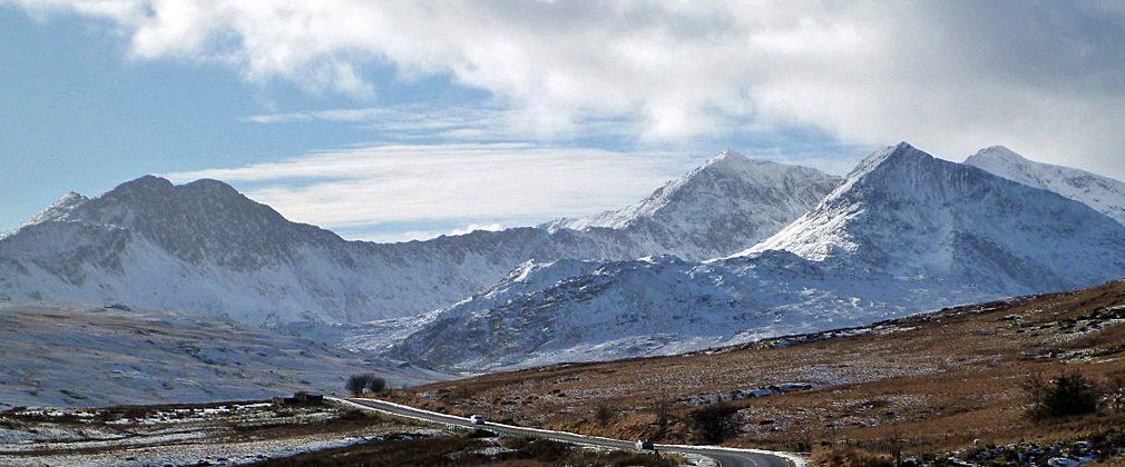 From Capel Curig. The Snowdon Horseshoe. L-R: Yr Aran, Y Lliwedd, Snowdon, Crib Goch, Carnedd Ugain.